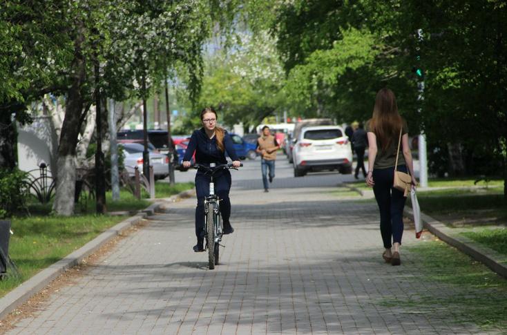 Омичи едут наработу навелосипедах #Омск #Общество #Сегодня